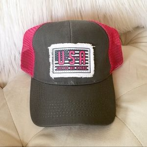 💜 USA Fringed Flag Patch Pink and Gray Hat 💜